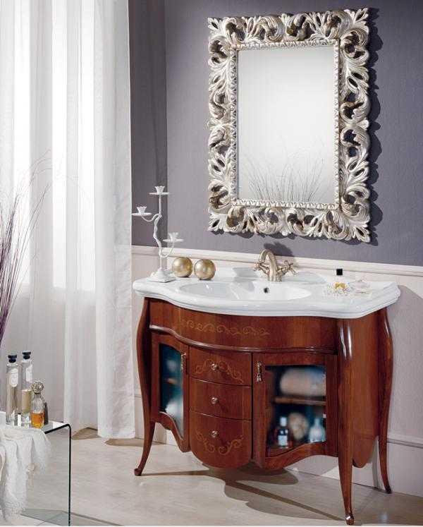 Mobili bagno anticati noce foglia barocco vome claris arredo bagno vomero mobili box doccia - Claris arredo bagno ...