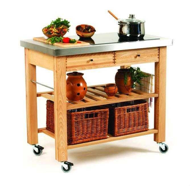 Carrelli legno e cromo da cucina cutting a port marc - Carrelli da cucina ikea ...